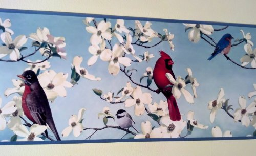 Wallpaper Border Designer Birds in Dogwoods Cardinal, Blue Bird, on Blue