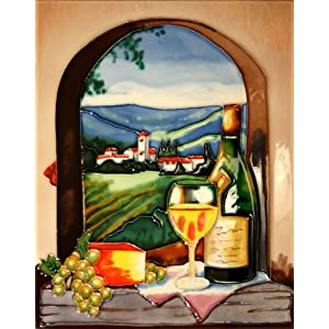 "Decorative Ceramic Art Tile - 11"" x 14"" Vertical - Arch View White Wine"