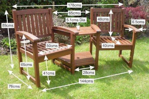 Henley Hardwood Garden Bench Companion Set Love Seat Great