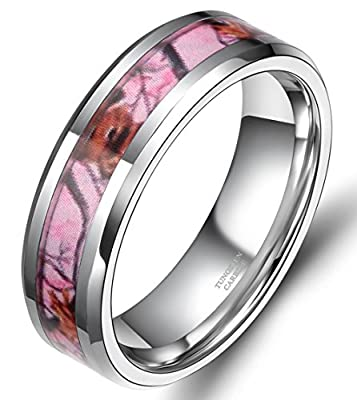Tungsten Deer Antlers Camouflage Inlay Hunting Ring Wedding/Engagement/Promise Ring