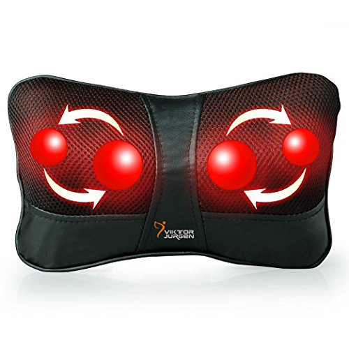 VIKTOR JURGEN Shiatsu Kneading Massage Pillow with Heat,Neck,Shoulder & Back Massager for Home/Car/Office (Microwave Heated Seat compare prices)