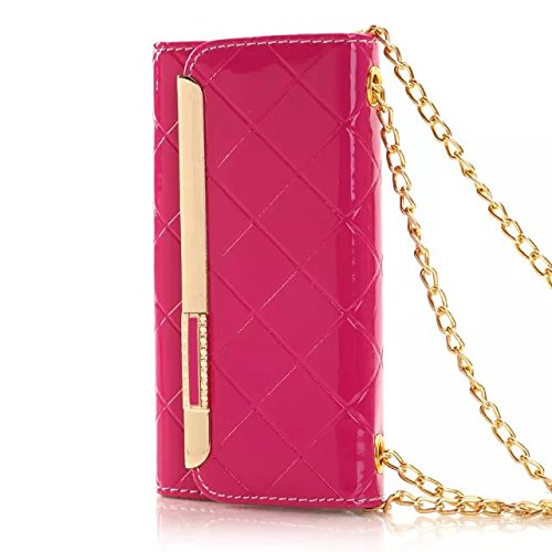 "(Case For Iphone 6/4.7 Inch) Bon Venu Smart Leather Flip Case Lady Bag Purse Elegant Purse Wallet Creadit Card Holder Flip Case Cover Design For Apple Iphone 6 4.7"" Case + Shoulder Chain Luxury Case Wallet+Screen Protector (Rose)"
