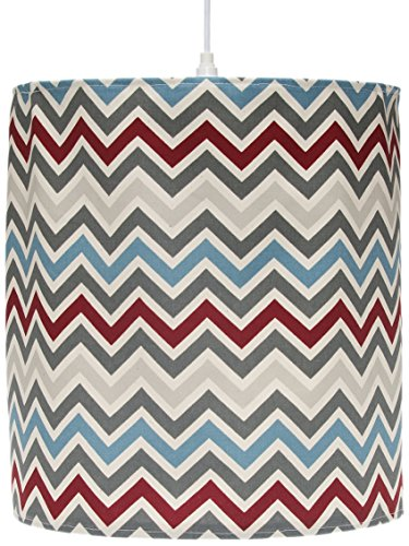 Sweet Potato Happy Trails Hanging Drum Shade, Chevron/Cream