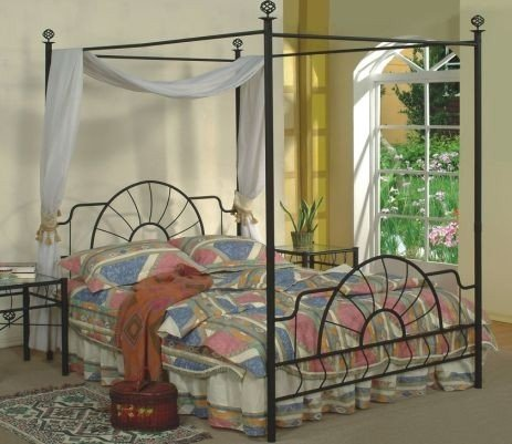 Inspirational Queen Size Black Finish Canopy Metal Bed Headboard and Footboard