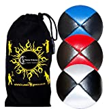 3x Pro Juggling Balls Deluxe (Leather/Pu) Professional Juggling Balls Set Of 3 + Fabric Travel Bag. (Black With...