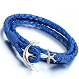Flongo Men's Womens Alloy Silver Anchor Nautical Multi-Strands...