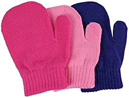 N\'Ice Caps Little Girls and Infants Magic Stretch Mittens 3 Pairs Assortment (6-18 Months, Solid - Pink/Fuchsia/Purple)