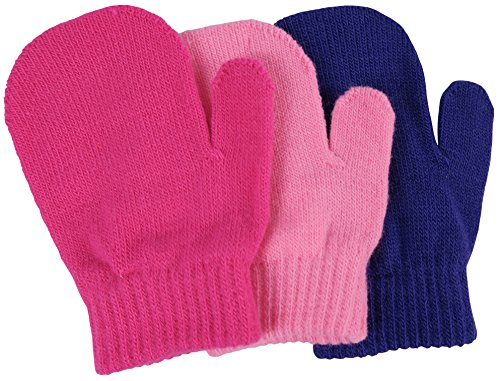 N'Ice Caps Little Girls and Infants Magic Stretch Mittens 3 Pairs Assortment (6-18 Months, Solid - Pink/Fuchsia/Purple)