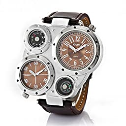 SILILUN Army watch movement Watch for Men with Dual Movt Numerals Genuine Leather Brown Dial