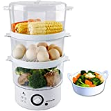 Ovente FS53W 3-Layer Electric Food Steamer, White