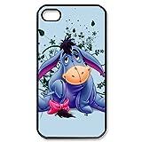 MeowStore Cartoon Cute Eeyore Donkey Flower Pattern Phone Case For Iphone 4 4s Black