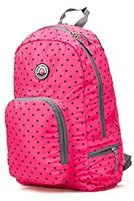 Hopsooken Travel Backpack For Schools - 25L Waterproof Dot Ultra Lightweight Daypack Bag for Women and Men, School Backpack for Girls, Boys, College Student (Pink)