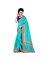 Aqua Green And Blue Spun Silk Party Wear Saree