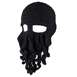 Amurleopard Unisex Barbarian Knit Beanie Octopus (One size, black~) by Amurleopard