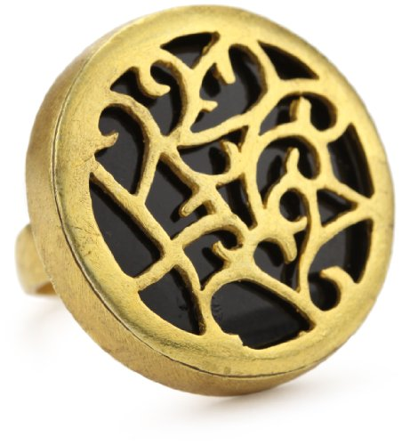 "Zariin ""Carve Me A Dream"" Cut Out On Black Onyx Gold Ring"