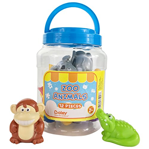 Boley Small Bucket Zoo Animals - 12 piece Zoo Animal toys features, lion,elephants, giraffe and more! - Perfect party gift for anyone giving educational toys or bath toys for toddlers!