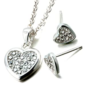 Pugster 3 Pieces of 925 Sterling Silver Heart April Birthstone Crystal Wedding Pendant Earrings Set Jewelry Gift Cubic Zirconia Pendants