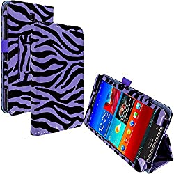 Accessory Planet(TM) Purple Zebra Folio Pouch Flip Case Cover with Stand Holder Accessory for Samsung Galaxy Tab 4 7.0