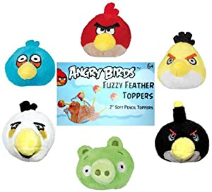 Angry Birds Plush - Fuzzy Feather Toppers - SET OF 6 (Red, Blue, Yellow, Black White & Pig - 2 inch) from ROVIO