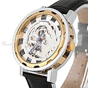 Gift In Box Sliver Gold Phoenix Skeleton Dial Black Genuine Leather Atomatic Mechanical Men's Watch G8119-03