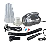 Sminiker Portable Handheld Powerful 12V DC 60W Wet/Dry Auto Vacuum Cleaner for Car,With Multi-functions of Tire Inflator Pump 150 PSI Air Compressor ,Tire Pressure Gauge and LEDs light(sliver)