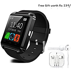 Samsung GALAXY CORE PRIME 4G Compatible and Certified Combo of high quality earphones with Mic and Smart Android OS U8 Watch and Activity Wristband with Wireless Bluetooth Connectivity ( Get Mobile Charging Cable worth Rs 239 FREE & 180 days Replacement Warranty )