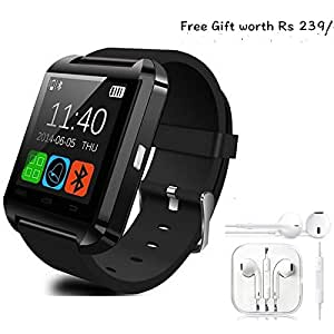 Celkon C43 Compatible and Certified Combo of high quality earphones with Mic and Smart Android OS U8 Watch and Activity Wristband with Wireless Bluetooth Connectivity ( Get Mobile Charging Cable worth Rs 239 FREE & 180 days Replacement Warranty )