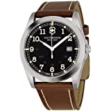 Victorinox Swiss Army Black Dial SS Brown Leather Quartz Men's Watch 241563