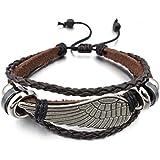 MunkiMix Alliage Genuine Leather Bracelet Bracelet Brun Noir Ange Aile Surfer Enveloppez Tribal Réglable S'Adapter 7~9 Pouce Homme MunkiMix