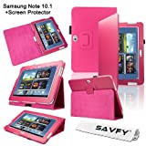 SAVFY Samsung Galaxy Note 10.1 (GT-N8000 / GT-N8010) Luxury Flip Stand Leather Case Cover Multi-Function Folio Pouch with Touch Stylus Loop Holder Design, includes FREE Bonus Gift: High Quality Screen Protector (Pink)by SAVFY