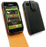 EMARTBUY SAMSUNG I9000 GALAXY S LUXURY PU LEATHER FLIP CASE/COVER/POUCH BLACK / TAN AND LCD SCREEN PROTECTOR