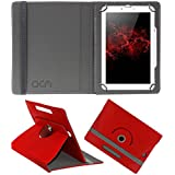 Acm Rotating Leather Flip Case For Swipe Ace Prime Tablet Cover Stand Red