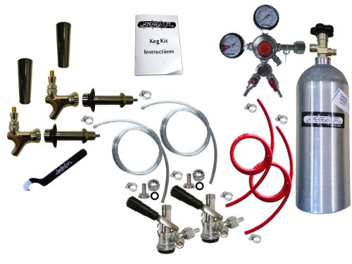 Two Keg Door Mount Kegerator Beer Tap Conversion Kit with 5 LB Co2 Tank