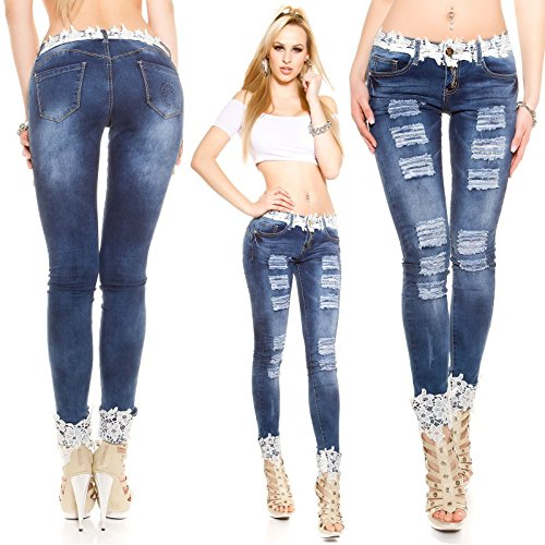 FF&CAI Pizzo sexy Jeans donna , blue , xl