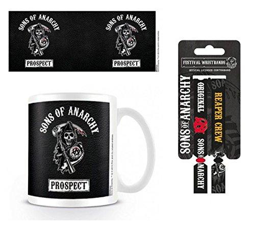 Set: Sons Of Anarchy, Prospect Tazza Da Caffè Mug (9x8 cm) E 1 Sons Of Anarchy, Braccialetto (10x2 cm)