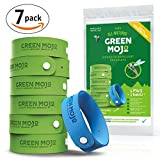 Green Mojo 100% Natural Mosquito Repellent Bracelet - Six (6) Pack + 1 Bonus - Perfect Outdoor Insect Repellent - Extra Wide For More Than 500 Hours Total Protection - Safe for Kids