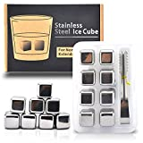 Aerb® Set of 8 Stainless Steel Chilling Ice Cubes Reusable for Whiskey Wine Beverage with Tongs