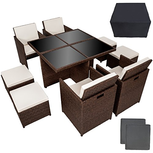 TecTake-Poly-Rattan-Aluminium-414-Sitzgruppe-Cube-4-Sthle-1-Tisch-4-Hocker-Schutzhlle-Edelstahlschrauben-antik-braun