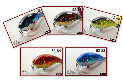 "Lot of Five 2.2"" Shallow Diving Fishing Lure Crankbaits for Bass & Trout with Matching Tail"