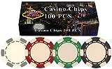 Da Vinci 100 Striped Poker Chips in Las Vegas Gift Box, 11.5gm
