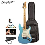 Sawtooth ST-ES-DBLP-KIT-2 Daphne Blue Electric Guitar using Pearl White Pickguard - is made up of Accessories, Gig court case and Online Lesson