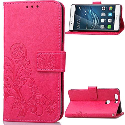 custodia-huawei-p9-plus-cover-red-rose-cozy-hut-retro-matte-retro-lucky-clover-modello-design-con-ci