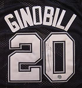 Manu Ginobili San Antonio Spurs Autographed Black #20 Jersey by Sports-Autographs