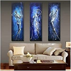 3 Pics Golf Player Abstract Modern Art 100% Hand Painted Oil Painting on Canvas Wall Art Deco Home Decoration (Unstretch No Frame)