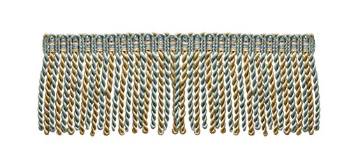 16 Feet Value Pack of 3 Inch Long Bullion Fringe Trim - Silver Blue, Gold, off-White - Island Breeze 5939 (5.4 Yards / 5 Meters)