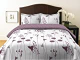 Perry Ellis Asian Lily Plum Collection Duvet Set, Full/Queen