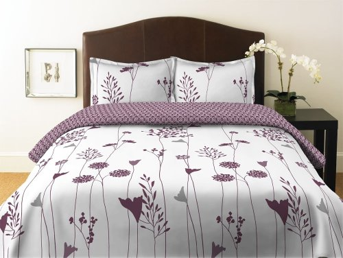 Perry Ellis Asian Lily Plum Duvet Set
