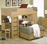 Natural Finish Wood Twin Loft Bunk Bed w/Many Storage Space
