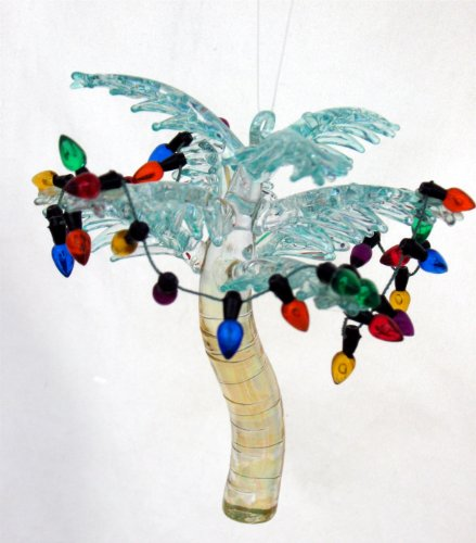 Glass Coconut Palm Tree Christmas Ornament With Holiday Lights - Gift Idea front-702808