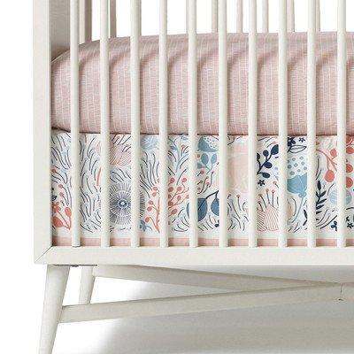 Dwellstudio Meadow Powder Canvas Crib Skirt, Pink, White